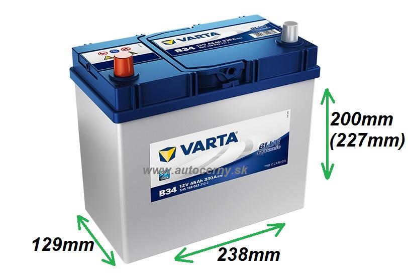 Varta Blue 12V/45Ah - 330A AZIA TYP - ĽAVÁ (545158033) B34