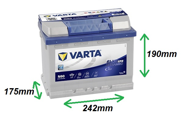Varta BLUE EFB 12V/60Ah 640A (560500064) Štart-Stop