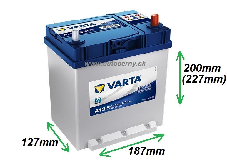Varta Blue 12V/40Ah Azia typ PRAVÁ (540125033) A13