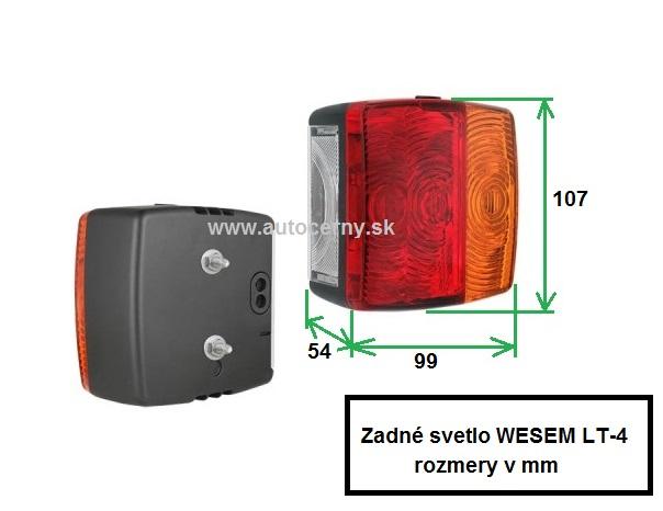 Svetlo zadné LT-4 (99x107mm) 1ks (náhrada za LT-1, LT-06727)