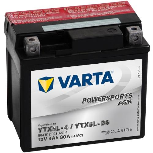 12V/4Ah 30A Varta 504012003 AGM