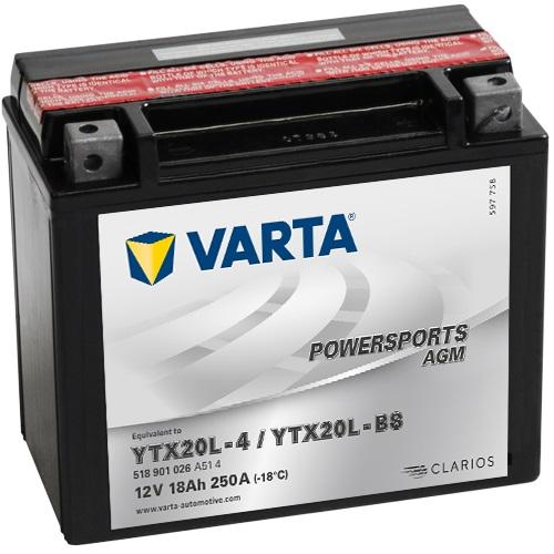 12V/18Ah 260A Varta 518901026 AGM