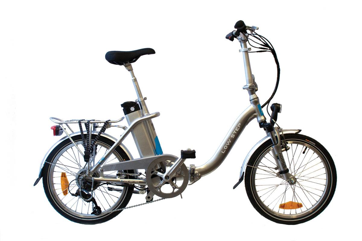 Skladací elektrobicykel AGOGS LOWSTEP strieborný 36V/16Ah
