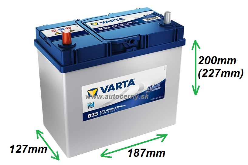 Varta Blue 12V/45Ah - 330A Azia ĽAVÁ tenké kontakty (545157033) B33