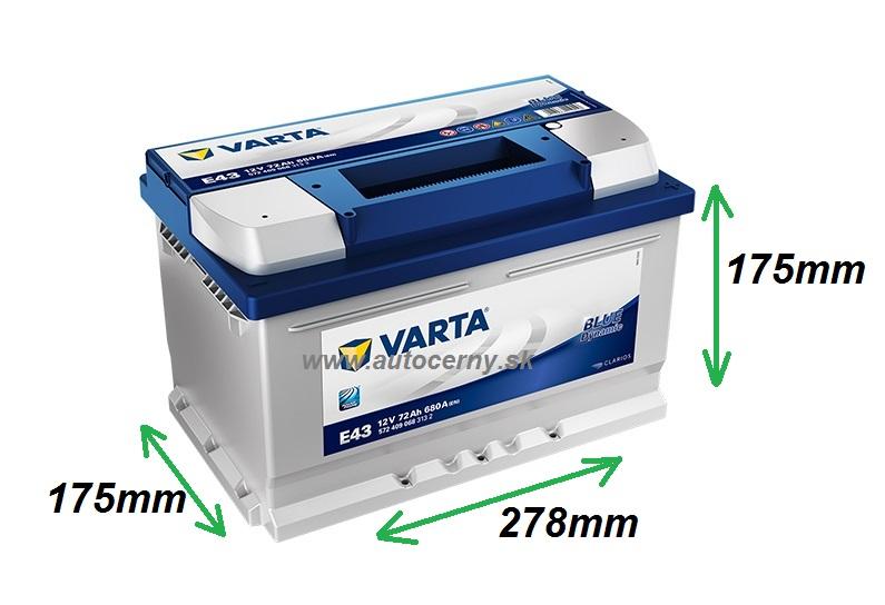 Varta Blue 12V/72Ah - 680A (572409068) E43