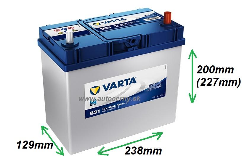 Varta Blue 12V/45Ah - 330A Azia tenké kontakty (545155033) B31
