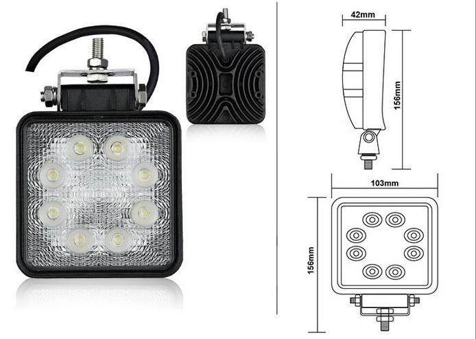 Pracovné svetlo LED 24W 12-24V - hranaté (max7960) 1ks