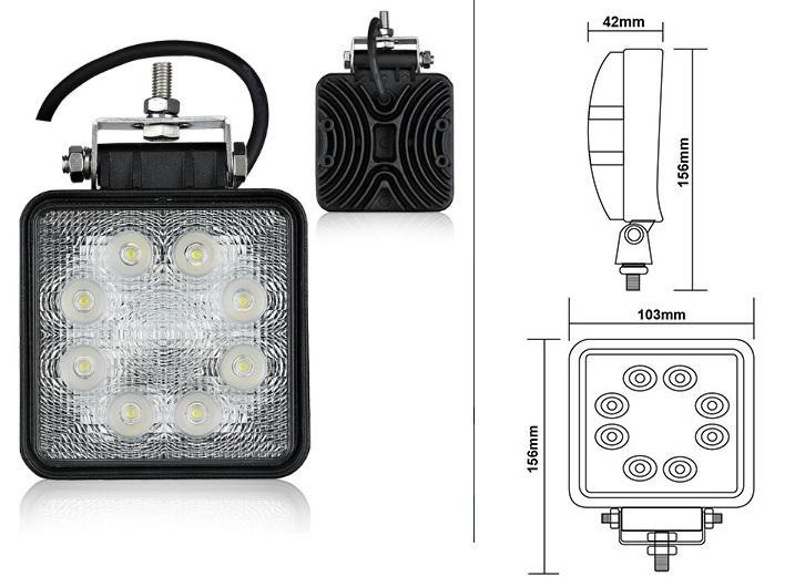 LED pracovný reflektor hranatý 12-24V (max7960)