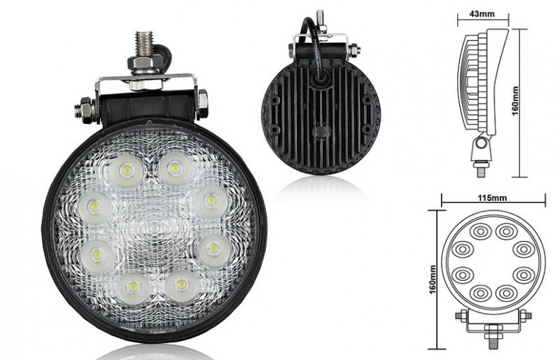 LED pracovný reflektor gulatý 12-24V (max7977)