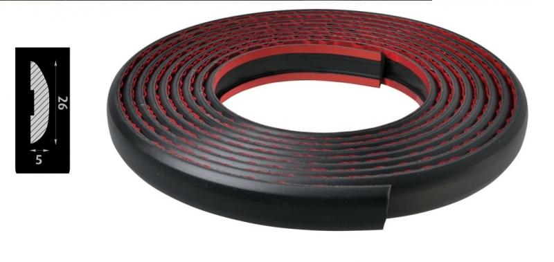 Lišta bočná čierna, gumenná 26x5mm - 5m (8433Max)