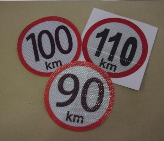 130 km/h - reflexná nálepka rýchlosti (1ks)