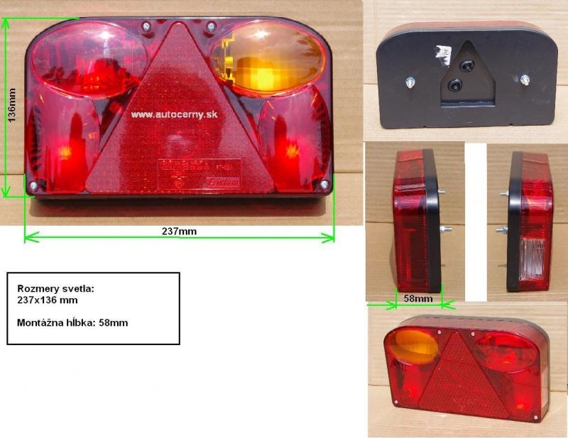Svetlo zadné FT-88 - PRAVÉ (237x136mm) 1ks