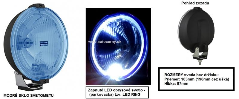 WESEM - Dialkový MODRÝ gulatý 183mm (1ks) + LED RING 12V